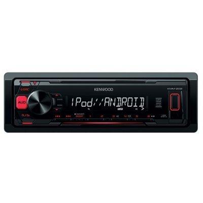 Автомагнитола Kenwood KMM-202 (KMM-202)Автомагнитолы Kenwood<br>автомагнитола 1 DIN<br>макс. мощность 4 x 50 Вт<br>воспроизведение с USB<br>аудиовход на передней панели<br>радиоприемник с RDS<br>