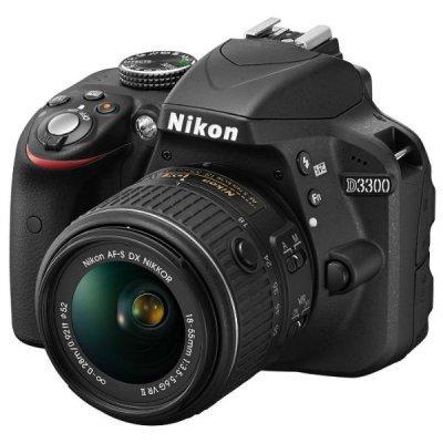 Цифровая фотокамера Nikon D3300 KIT 18-55mm черный (VBA390K008) фотоаппарат nikon d3400 kit 18 55 mm af p vr black