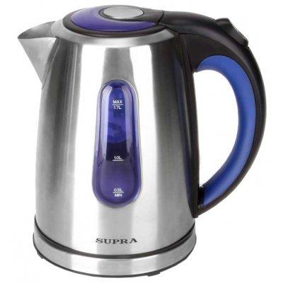 Электрический чайник Supra KES-1738 (KES-1738)Электрические чайники Supra<br>чайник<br>объем 1.7 л<br>мощность 2200 Вт<br>закрытая спираль<br>установка на подставку в любом положении<br>стальной корпус<br>индикация включения<br>подсветка корпуса<br>