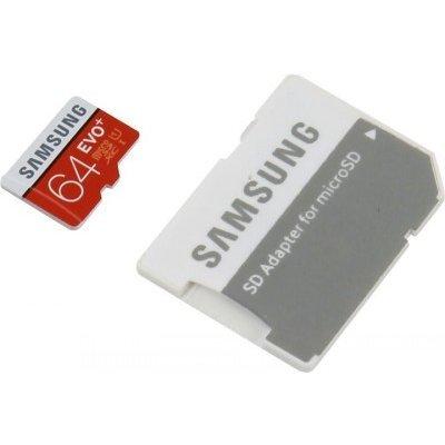 Карта памяти Samsung 64GB microSDXC Class 10 MB-MC64DA/RU (MB-MC64DA/RU)Карты памяти Samsung<br>Флеш карта microSD 64GB SAMSUNG EVO+ microSDXC Class 10,UHS-I (SD адаптер) 20MB/s,80MB/s<br>