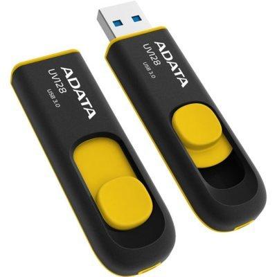 USB накопитель A-Data AUV128-64G-RBY (AUV128-64G-RBY)USB накопители A-Data<br>Флеш накопитель 64GB A-DATA UV128, USB 3.0, черный/желтый<br>