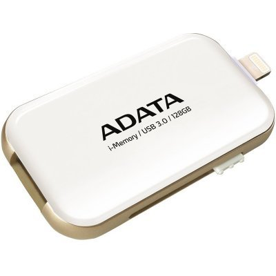 USB накопитель A-Data AUE710-128G-CWH (AUE710-128G-CWH)USB накопители A-Data<br>Флеш накопитель 128GB A-DATA i-Memory Elite UE710, USB 3.0/Lightning, Белый<br>