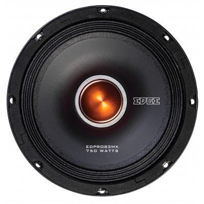 Колонки автомобильные Edge EDPRO83MX-E4 (1 штука) (EDPRO83MX-E4)Колонки автомобильные Edge<br>Среднечастотный Pro audio<br>Конфигурация: Однополосный.<br>Размер динамика: 8.3(210 мм). <br>Номинальная мощность: 250 Вт. <br>Пиковая мощность: 750 Вт. <br>Мин.входная мощность(RMS): 125 Вт <br>Чувствительность: 101 дБ. <br>Диапазон частот: 80 Гц - 7 кГц. <br>Сопротивление: 4 Ом. <br>Монтажная глубина: 3.6 (92 м ...<br>
