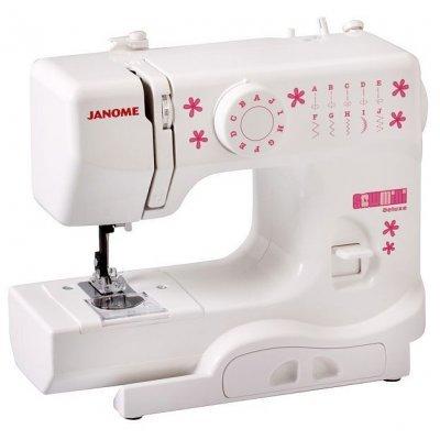 Швейная машина Janome Sew Mini Delux (JANOME Sew Mini Delux)Швейные машины Janome<br>швейная машина<br>электромеханическое управление<br>плавная работа без вибрации<br>5 швейных операций<br>ручная обработка петли<br>обметочная строчка<br>рукавная платформа<br>