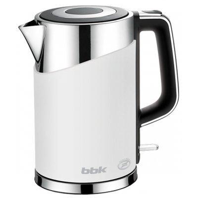 Электрический чайник BBK EK1750P белый (EK1750P белый)Электрические чайники BBK<br>чайник объем 1.7 л мощность 2200 Вт закрытая спираль установка на подставку в любом положении корпус из стали и пластика ненагревающийся корпус<br>