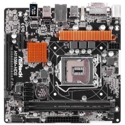 Материнская плата ПК ASRock H110M-HDS (H110M-HDS)Материнские платы ПК ASRock<br>Мат. плата ASRock H110M-HDS &amp;lt;S1151, iH110, 2*DDR4, PCI-E16x, DVI, HDMI, SATAIII, GB Lan, USB3.0, mAT<br>