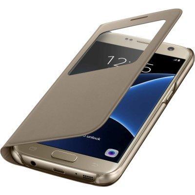 Чехол для смартфона Samsung для Galaxy S7 S View Cover золотистый (EF-CG930PFEGRU) (EF-CG930PFEGRU)Чехлы для смартфонов Samsung<br>Чехол (флип-кейс) Samsung для Samsung Galaxy S7 S View Cover золотистый (EF-CG930PFEGRU)<br>