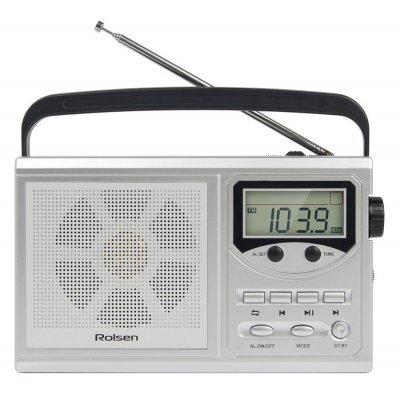 Радиобудильник Rolsen RBM-217 серебристый (1-RLAM-RBM217SL)Радиобудильники Rolsen<br>Радиобудильник Rolsen RBM-217 серебристый LCD часы:цифровые AM/FM/УКВ/КВ<br>