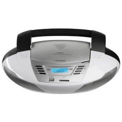 Аудиомагнитола Telefunken TF-CSRP3480 серебристый (TF-CSRP3480 серебристый)Аудиомагнитолы Telefunken<br>Аудиомагнитола Telefunken TF-CSRP3480 серебристый 6Вт/CD/CDRW/MP3/FM(dig)/USB/SD/MMC<br>