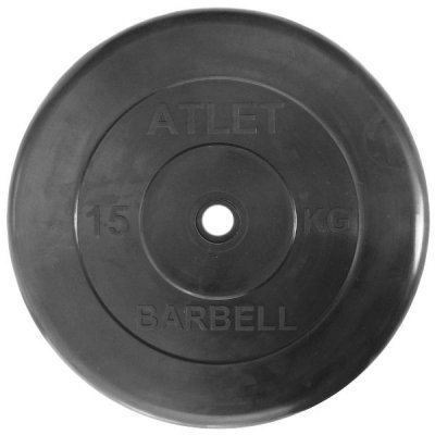 barbell Блин для гантели и штанги Barbell MB ATLET d-26 15кг (MB ATLET d-26 15кг)