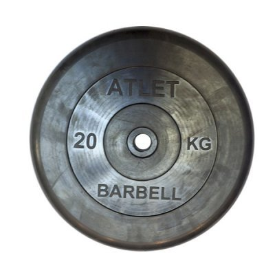 barbell Блин для гантели и штанги Barbell MB ATLET d-26 20кг (MB ATLET d-26 20кг)