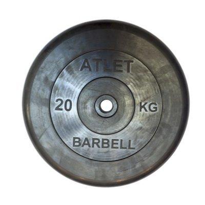 Блин для гантели и штанги Barbell MB ATLET d-26 20кг (MB ATLET d-26 20кг) гантель barbell atlet 20кг