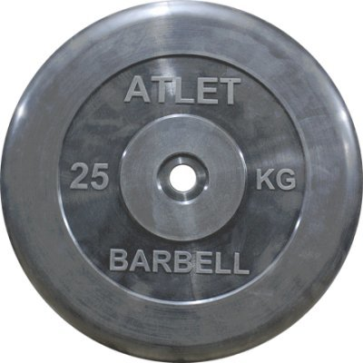 barbell Блин для гантели и штанги Barbell MB ATLET d-26 25кг (MB ATLET d-26 25кг)
