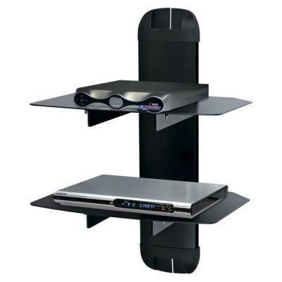 Кронштейн для ТВ и панелей Kromax X-DUO черный (X-DUO black)Кронштейн для ТВ и панелей Kromax<br>Кронштейн Kromax X-DUO black, для A/V систем, настенный, max 10кг, стекло 5 мм, размер полок 270*360<br>
