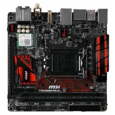 Материнская плата ПК MSI Z170I GAMING PRO AC (Z170I GAMING PRO AC)Материнские платы ПК MSI<br>Мат. плата MSI Z170I GAMING PRO AC &amp;lt;S1151, Z170, 2*DDR4, PCI-E16x, HDMI, DP, SATA III+RAID, GB Lan,<br>