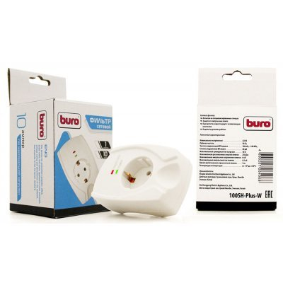 Сетевой фильтр Buro 100SH-Plus-W (1 розетка) белый (100SH-PLUS-W)