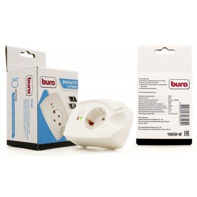 Сетевой фильтр Buro 100SH-W (1 розетка) белый (100SH-W)Сетевые фильтры Buro<br>1 розетка белый (коробка)<br>