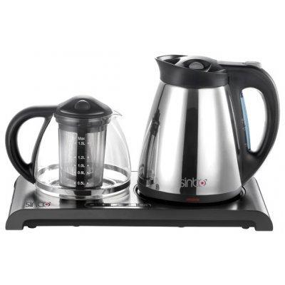 Электрический чайник Sinbo SK 2374 серебристый/черный (SK 2374)Электрические чайники Sinbo<br>чайник<br>объем 1.7 л<br>мощность 2000 Вт<br>закрытая спираль<br>установка на подставку в любом положении<br>заварочный чайник в комплекте<br>стальной корпус<br>дисплей<br>индикация включения<br>