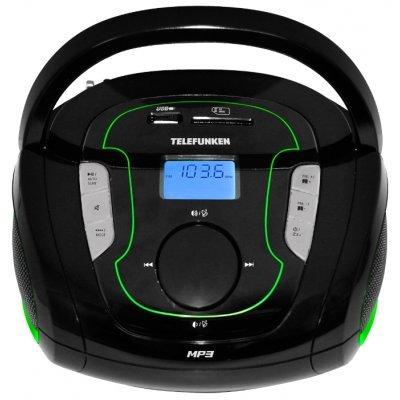 Аудиомагнитола Telefunken TF-SRP3471B черный/зеленый (TF-SRP3471B(ЧЕРНЫЙ С ЗЕЛЕНЫМ))Аудиомагнитолы Telefunken<br>Аудиомагнитола Telefunken TF-SRP3471B черный/зеленый 2Вт/MP3/FM(dig)/USB/BT/SD<br>
