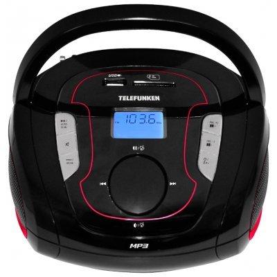 Аудиомагнитола Telefunken TF-SRP3471B черный/красный (TF-SRP3471B(ЧЕРНЫЙ С КРАСНЫМ))Аудиомагнитолы Telefunken<br>Аудиомагнитола Telefunken TF-SRP3471B черный/красный 2Вт/MP3/FM(dig)/USB/BT/SD<br>