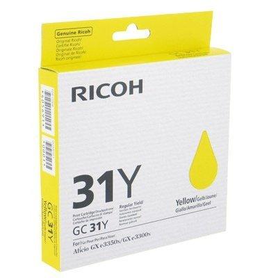 Картридж для струйных аппаратов Ricoh GC 31Y желтый (405691)Картриджи для струйных аппаратов Ricoh<br>Картридж желтый для гелевого принтера GC 31Y Aficio GX e2600/ GX e3300N/ GX e3350N/ GX e5550N<br>