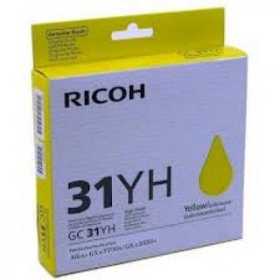 Картридж для струйных аппаратов Ricoh GC 31YH желтый (405704)Картриджи для струйных аппаратов Ricoh<br>Картридж гелевый GC 31YH (4К) желтый Aficio GX e5550N/ GX e7700N<br>