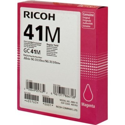 Картридж для струйных аппаратов Ricoh GC 41M малиновый (405763)Картриджи для струйных аппаратов Ricoh<br>Картридж гелевый GC 41M (2.2К) малиновый Aficio Aficio 3110DN/ 3110DNw/3100SNw/3110SFNw<br>