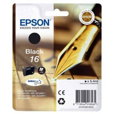Картридж для струйных аппаратов Epson 16 черный для WF-2010/WF-2510/WF-2540 (C13T16214010) (C13T16214010)Картриджи для струйных аппаратов Epson<br>Картридж EPSON 16 черный для WF-2010/WF-2510/WF-2540<br>