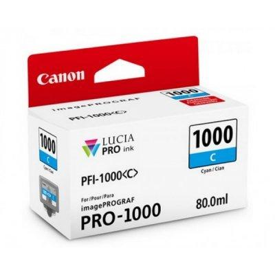 Картридж для струйных аппаратов Canon PFI-1000 C для IJ SFP PRO-1000 WFG Голубой (0547C001) (0547C001)Картриджи для струйных аппаратов Canon<br>Картридж Canon PFI-1000 C для  IJ SFP PRO-1000 WFG. Голубой. 80 мл.<br>