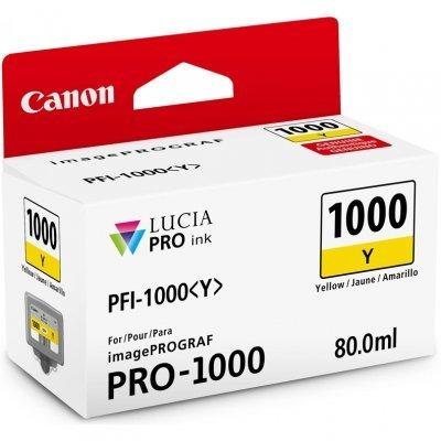 Картридж для струйных аппаратов Canon PFI-1000 Y для IJ SFP PRO-1000 WFG Жёлтый (0549C001) (0549C001)Картриджи для струйных аппаратов Canon<br>Картридж Canon PFI-1000 Y для  IJ SFP PRO-1000 WFG. Жёлтый. 80 мл.<br>