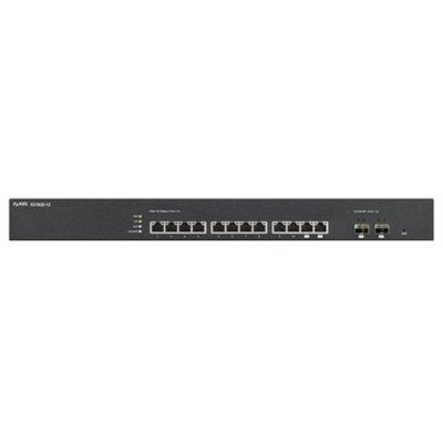 Коммутатор ZYXEL XS1920-12 (XS1920-12)Коммутаторы ZYXEL<br>ZyXEL XS1920-12. Интеллектуальный коммутатор 10G Ethernet с 12 разъемами RJ-45 из которых 2 совмещены со слотами SFP+<br>