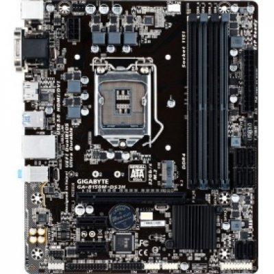 Материнская плата ПК Gigabyte GA-B150M-DS3H (rev. 1.0) (GA-B150M-DS3H)Материнские платы ПК Gigabyte<br>Gigabyte GA-B150M-DS3H (Socket 1151, intel B150, 4*DDR4, VGA, DVI, HDMI, PCI-Ex16, 2*PCI, Gb Lan, Audio, USB 3.0, SATA 3.0, mATX)<br>