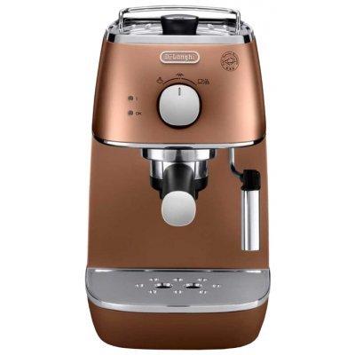 Кофеварка Delonghi ECI 341 CP медь (ECI 341 CP)Кофеварки Delonghi<br>кофеварка эспрессо<br>для молотого кофе и в таблетках<br>приготовление капучино<br>отключение при неиспользовании<br>одновременная раздача на 2 чашки<br>металлический корпус<br>