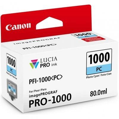 Картридж для струйных аппаратов Canon PFI-1000 PC для IJ SFP PRO-1000 WFG. Фото голубой. 80 мл. (0550C001)Картриджи для струйных аппаратов Canon<br>Картридж Canon PFI-1000 PC для  IJ SFP PRO-1000 WFG. Фото голубой. 80 мл.<br>