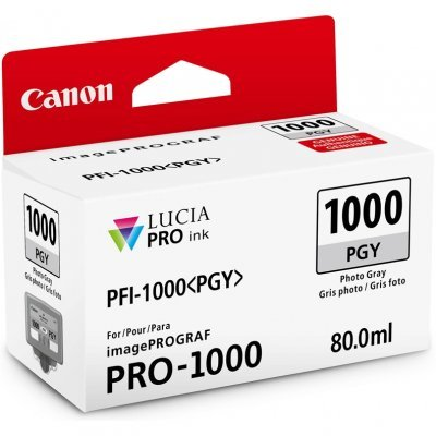 Картридж для струйных аппаратов Canon PFI-1000 PGY для IJ SFP PRO-1000 WFG. Фото серый. 80 мл. (0553C001)Картриджи для струйных аппаратов Canon<br>Картридж Canon PFI-1000 PGY для  IJ SFP PRO-1000 WFG. Фото серый. 80 мл.<br>