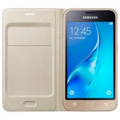 Чехол для смартфона Samsung для Galaxy J1 (2016) Flip Wallet золотой (EF-WJ120PFEGRU) (EF-WJ120PFEGRU)Чехлы для смартфонов Samsung<br>Для Galaxy J1 (2016). Золотистый. Полиуретан.<br>