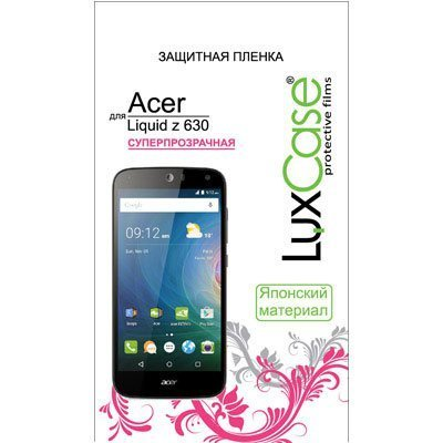 Пленка защитная для смартфонов LuxCase для Acer Liquid Z630/Z630s (Суперпрозрачная) (52619)Пленки защитные для смартфонов LuxCase<br>Защитная пленка LuxCase  для Acer Liquid Z630 (Суперпрозрачная)<br>