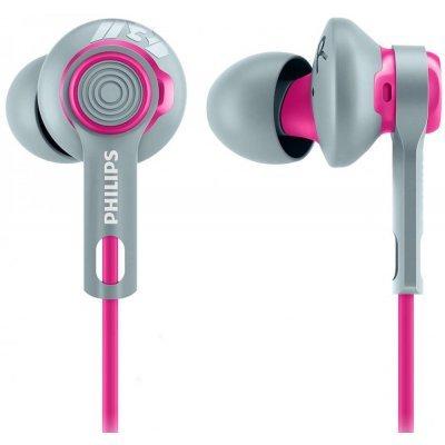 Наушники Philips SHQ2300 серый/розовый (SHQ2300PK/00)Наушники Philips<br>Наушники Philips/ спортивные 7-24000Гц 1.2м gold 3.5мм 107дБ кабельный зажим, чехол, сменные амбушюры серый/розовый<br>