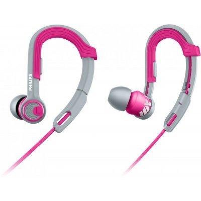 Наушники Philips SHQ3300 серый/розовый (SHQ3300PK/00)Наушники Philips<br>Наушники Philips/ спортивные, крепление-крючок, 6-24000Гц 1.2м gold 3.5мм 107дБ кабельный зажим, чехол, сменные амбушюры серый/розовый<br>