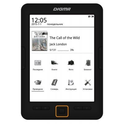 Электронная книга Digma E631 черный (E631B)Электронные книги Digma<br>Электронная книга Digma E631 6 E-Ink 1024x758 600MHz 128Mb/4Gb/microSDHC черный<br>