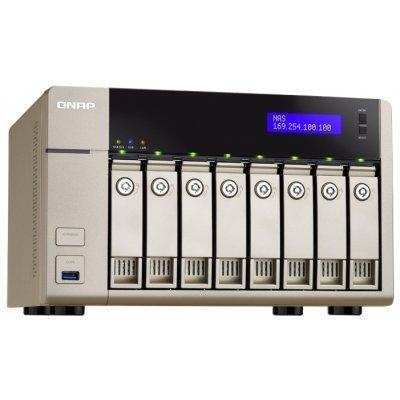 Сетевой накопитель NAS Qnap TVS-863+-8G (TVS-863+-8G)Сетевые накопители NAS Qnap<br>сетевой накопитель (NAS), 2 гигабитных LAN-порта<br>линейка TVS-863+<br>8 мест для HDD 2.5/3.5<br>4-ядерный процессор, 2000 МГц<br>8 Гб оперативной памяти DDR3<br>HDMI-выход<br>