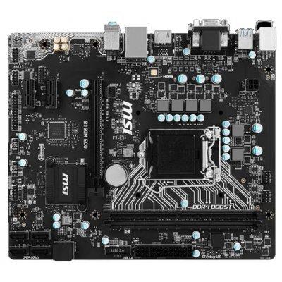 Материнская плата ПК MSI B150M ECO (B150MECO)Материнские платы ПК MSI<br>материнская плата форм-фактора microATX сокет LGA1151 чипсет Intel B150 2 слота DDR4 DIMM, 2133 МГц разъемы SATA: 6 Гбит/с - 6<br>