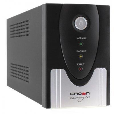 Источник бесперебойного питания Crown CMU-SP800 COMBO (CMU-SP800 COMBO)Источники бесперебойного питания Crown<br>ИБП CROWN 800VA/510W, металл, 1x12V/9AH, розетки 2*IEC + 2*EURO, трансформатор AVR 145-280V, съёмный кабель 1.2м, фильтр телефонной и ethernet линии RJ11/45, защита батареи, от перегрузки, от КЗ<br>