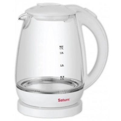 Электрический чайник Saturn ST-EK 8420 белый (ST-EK 8420 White)Электрические чайники Saturn <br>ST-EK 8420 White Чайник 1,7л СТЕКЛО подсветкаSaturn<br>