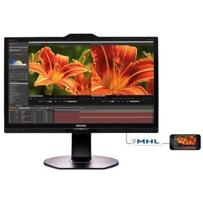 Монитор Philips 23.8 241P6VPJKEB (241P6VPJKEB)Мониторы Philips<br>Монитор Philips 23.8 241P6VPJKEB (00/01) черный IPS LED 5ms 16:9 DVI HDMI M/M Cam матовая HAS Pivot 50000000:1 300cd 178гр/178гр 3840x2160 D-Sub DisplayPort FHD USB 9.6кг<br>