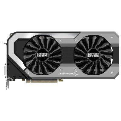 Видеокарта ПК Palit GeForce GTX 1070 1632Mhz PCI-E 3.0 8192Mb 8000Mhz 256 bit DVI HDMI HDCP (NE51070S15P2-1041J)Видеокарты ПК Palit<br>Видеокарта Palit PCI-E PA-GTX1070 SUPER JETSTREAM 8G nVidia GeForce GTX 1070 8192Mb 256bit GDDR5 1632/8000 DVIx1/HDMIx1/DPx3/HDCP Ret<br>