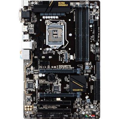 Материнская плата ПК Gigabyte GA-B150-HD3 (rev. 1.0) (GA-B150-HD3)Материнские платы ПК Gigabyte<br>материнская плата форм-фактора ATX сокет LGA1151 чипсет Intel B150 4 слота DDR4 DIMM, 2133 МГц поддержка CrossFire X разъемы SATA: 6 Гбит/с - 6<br>