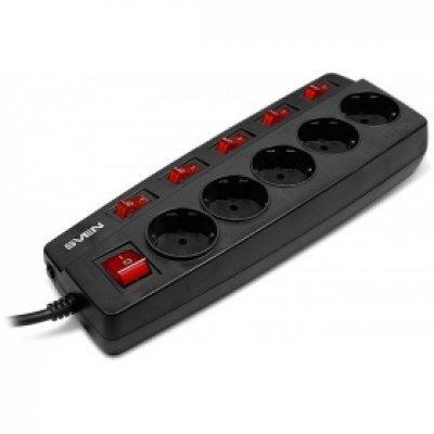 Сетевой фильтр SVEN SV-012977 (5 розеток) 5м черный (SV-012977)Сетевые фильтры SVEN<br>Сетевой фильтр 5M 5OUTL. BLACK SV-012977 SVEN<br>