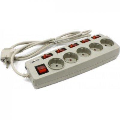 Сетевой фильтр SVEN SV-012984 (5 розеток) 1,8 м серый (SV-012984)Сетевые фильтры SVEN<br>Сетевой фильтр 1.8M 5OUTL. GREY SV-012984 SVEN<br>