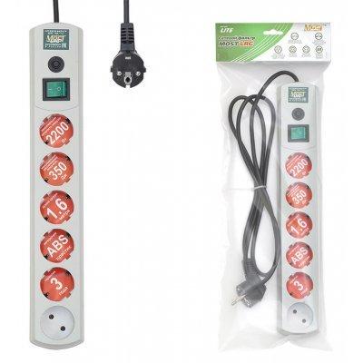 Сетевой фильтр Most LRG 3м белый (LRG 6-3WT)Сетевые фильтры Most<br>Сетевой фильтр Most LRG 3м (6 розеток) белый (пакет ПЭ)<br>